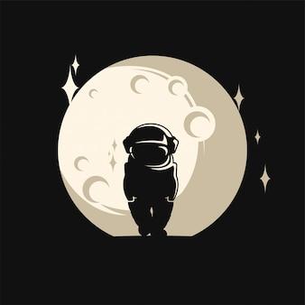 Fantastische astronautenschattenbildillustration und -mond