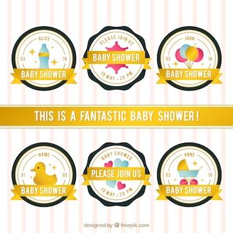 Fantastische baby-dusche abzeichen mit goldenen bändern
