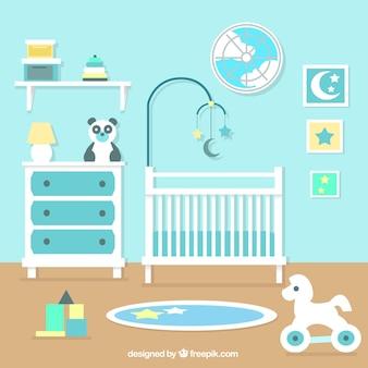 Fantastische baby-raum mit blauen wand