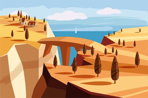 Fantastische berglandschaft. brücke, bergdorf, der golf, bäume, ozean, meer, karikaturart, vektorillustration