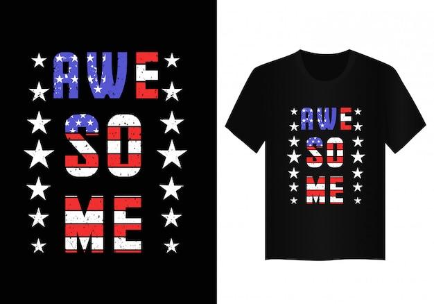 Fantastische beschriftung mit t-shirt entwurf der amerikanischen flagge