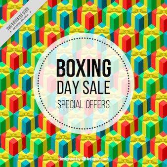 Fantastische boxing day hintergrund mit bunten geschenken
