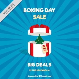 Fantastische boxing day hintergrund mit weißen geschenk
