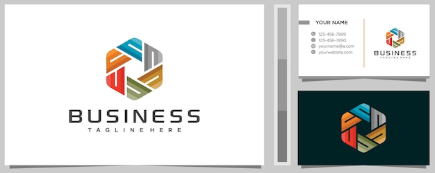 Fantastische bunte buchstaben-n-logo-designschablone mit visitenkarte