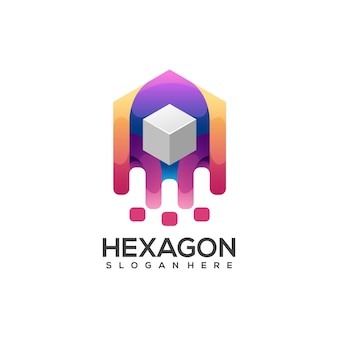 Fantastische bunte zusammenfassung des sechskantbox-logos