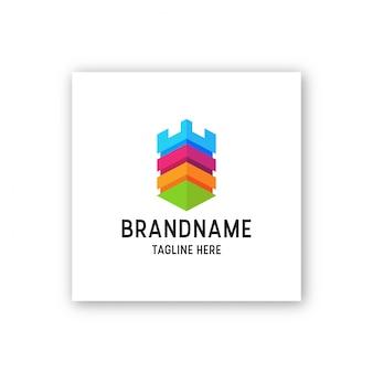 Fantastische burg voller farbe logo symbol design vorlage illustration