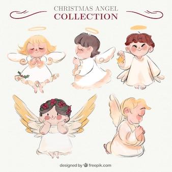Fantastische engel sammlung in aquarell-stil