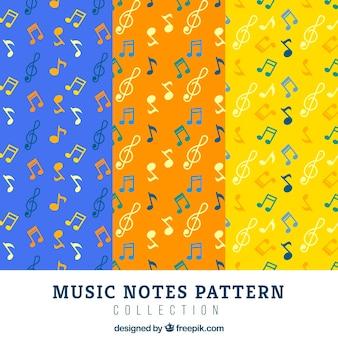 Fantastische farbige muster mit flachen musiknoten