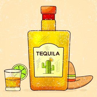 Fantastische flasche tequila mit schnapsglas und mexikanischem hut