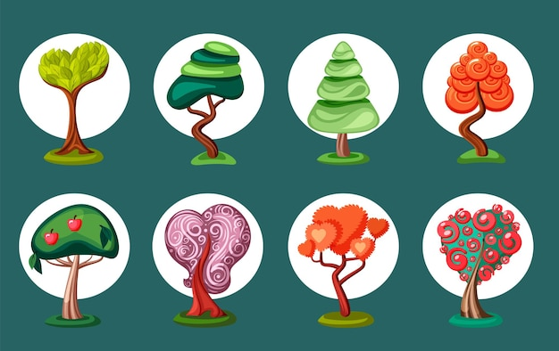 Fantastische geometrische bonsai-bäume gesetzt