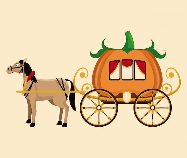 Fantastische geschichte des schönen kürbiswagenpferds