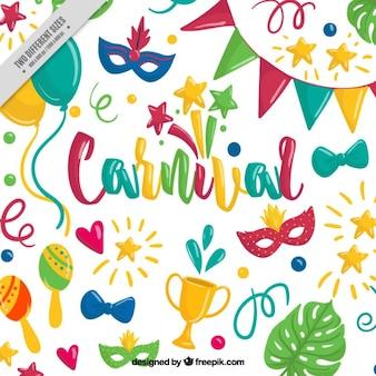 Fantastische hintergrund mit bunten handgezeichneten objekte für karneval