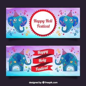Fantastische holi banner mit elefanten