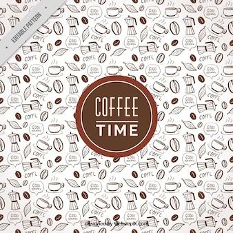Fantastische kaffee-muster mit dekorativen gegenständen