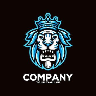 Fantastische löwenkönig-maskottchen-logo-designillustration