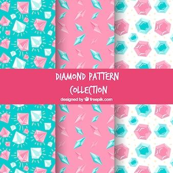 Fantastische muster mit blauen und rosa edelsteine