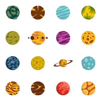 Fantastische planeten symbole inmitten einer flachen stil