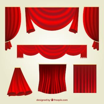 Fantastische reihe von roten vorhängen mit verschiedenen designs