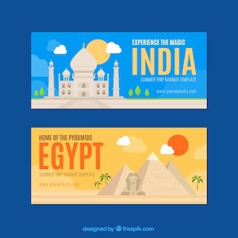 Fantastische reise-banner zu indien und ägypten