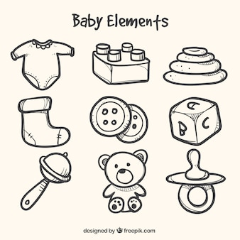 Fantastische sammlung von handgezeichneten elemente für babys