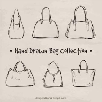 Fantastische sammlung von handgezeichneten taschen
