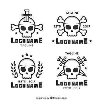 Fantastische schädel-logos in flachem design