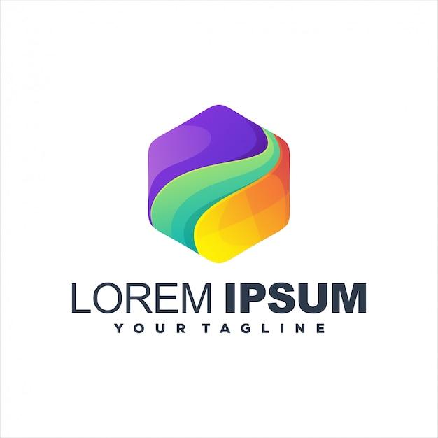 Fantastische sechseck-farbverlauf-logo-vorlage