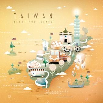 Fantastische taiwan attraktionen und gerichte reisekarte isometrischen stil