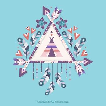 Fantastische traumfänger mit dekorativen blumen und federn
