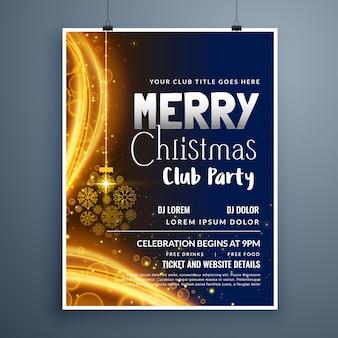 Fantastische weihnachtsfeier plakatvorlage design mit hängenden schneeflocken ball