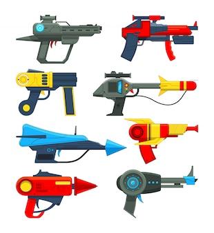 Fantastische weltraumwaffen im cartoon-stil