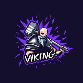 Fantastische wikinger-logoillustration für spielgruppe