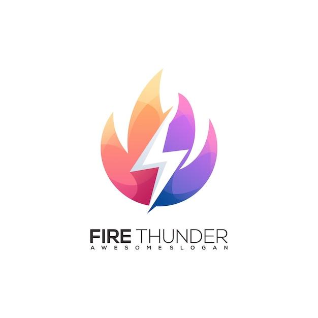 Fantastischer bunter farbverlauf des feuer- und donnerlogos