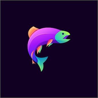 Fantastischer bunter fischlogoentwurf