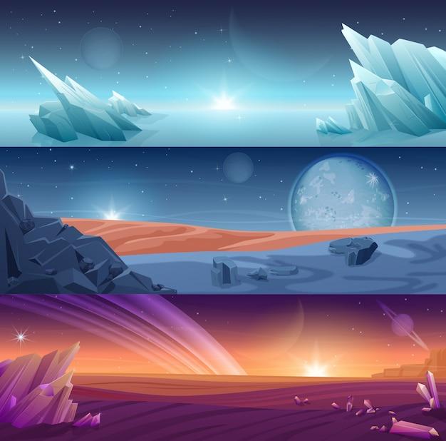 Fantastischer fremder planet horizontaler bannerlandschaftshintergrundsatz.