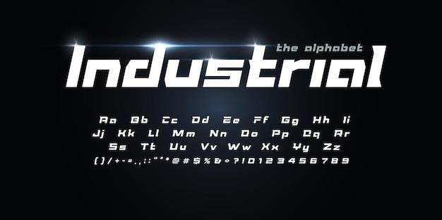 Fantastischer futuristischer alphabet industrieller geometrischer schriftart-techno-typ für moderne futuristische logo-schlagzeile