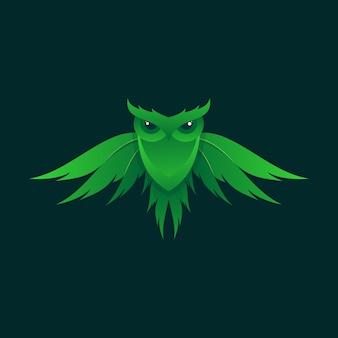 Fantastischer grüner eulenillustrationsentwurf