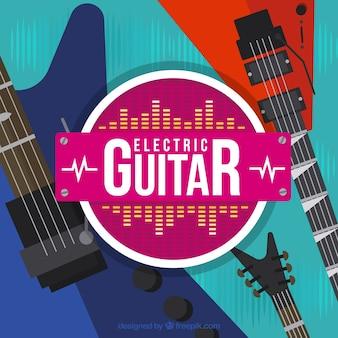Fantastischer hintergrund mit e-gitarren in flachem design
