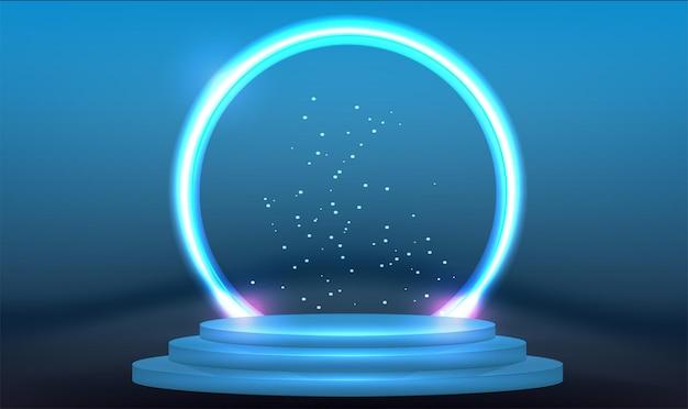 Fantastischer moderner futuristischer neonblauer kreis, portal im rauch.