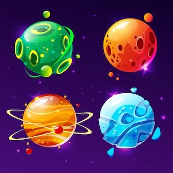 Fantastischer planet der karikatur, weltenasteroidensatz. kosmisches, alien raumelement für spiel