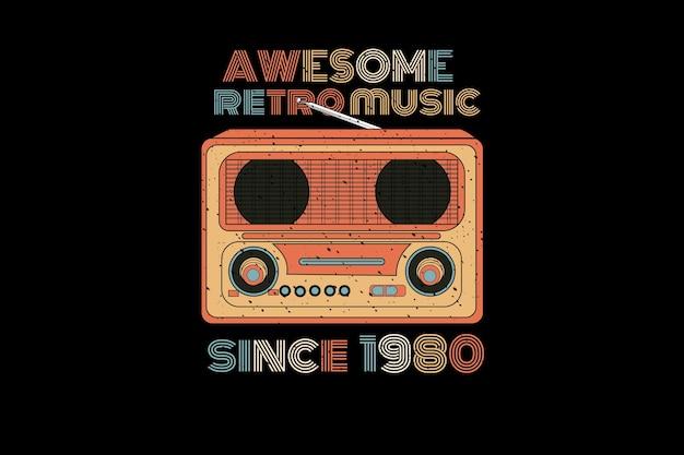 Fantastischer retro-musik-silhouette-design-retro-stil