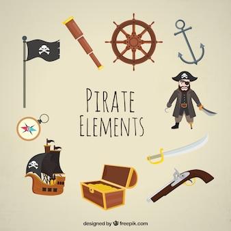 Fantastischer satz dekorativer piratenelemente