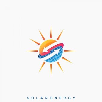Fantastischer solarpanel premium logo vektor