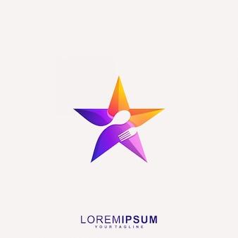 Fantastischer stern restaurant logo vektor