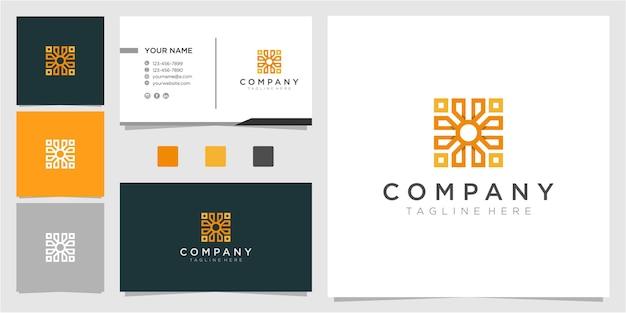 Fantastisches abstraktes logo-design mit visitenkarte