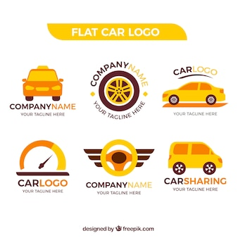 Fantastisches auto-logo mit orange und gelb details