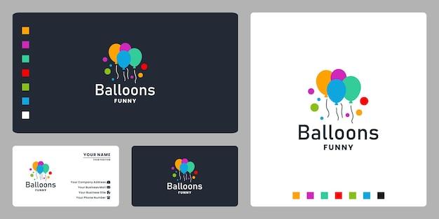 Fantastisches ballon-logo-design für party-event und lustigen moment