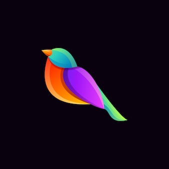 Fantastisches buntes gradientenvogel-logo-design