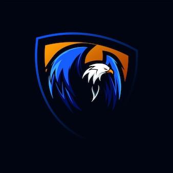 Fantastisches eagle shield wing logo maskottchen-vektor-illustration