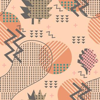 Fantastisches herbstfalllaubmuster mit geometrischem modischem buntem abstraktem memphis.